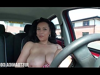 Beauty Boobs Car MILF Nasty Playing Tease