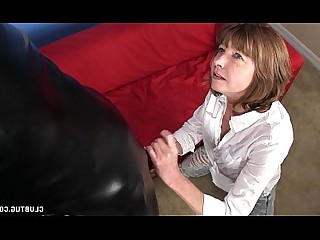 Fetish Granny Handjob Jerking Latex Mature MILF Nasty
